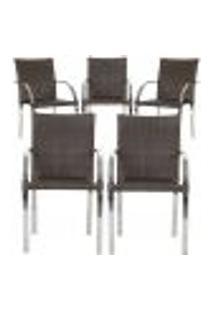 Cadeiras 5Un Para Area Varanda Fibra Sintetica Sala Cozinha Jardim Sacada Madri - Pedra Ferro