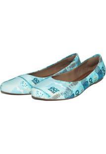 Sapatilha Péz Descalços Bico Fino Money R$100 Feminina - Feminino-Azul Claro