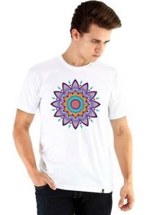 Camiseta Ouroboros Manga Curta Mandala Florescnt Masculina - Masculino-Branco