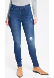 Calça Jeans Feminina Five Pockets Body Skinny Cintura Alta Azul Marinho Calvin Klein - 36