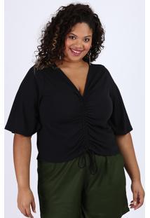 Blusa Feminina Plus Size Cropped Canelada Com Franzido Manga Curta Decote V Preta