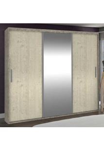 Guarda-Roupa Casal 3 Portas Com 1 Espelho 100% Mdf 1986E1 Demol/Marfim Areia - Foscarini