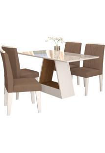 Sala De Jantar Alana 130Cm Com 4 Cadeiras Savana/Branco Pluma