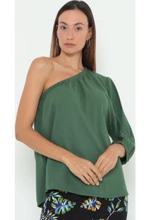 Blusa Ombro Único Lisa- Verde Escuro- Colccicolcci