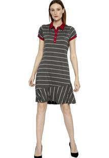 Vestido Polo Manga Curta Energia Fashion Chumbo