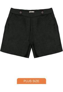 Shorts Feminino Plus Size Preto