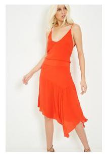 Vestido Seda Midi Com Faixa Coral