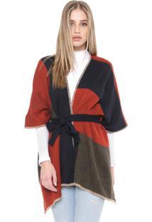Kimono Mob Tricot Pespontos Laranja/Azul-Marinho