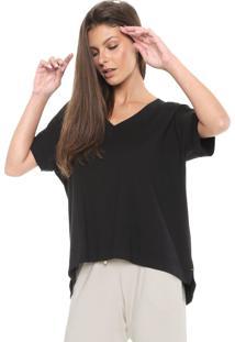 Camiseta Liz Decote V Preta