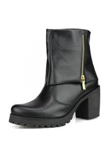 Bota Ankle Boot Dhatz Preta Cano Medio Sem Cadarço