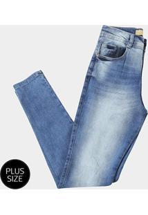 4cb882fbd00682 Zattini Calça Jeans Skinny Biotipo Estonada Cintura Alta Plus Size Feminina  - Feminino-Azul