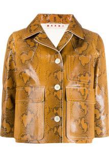Marni Snakeskin Print Cropped Jacket - Marrom