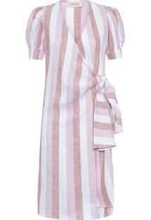 Vestido Transpassado Porto - Rosa E Bege