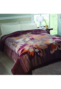 Cobertor Casal Columbia Poliéster Microfibra Jolitex 1,80Mx2,20M Roxo