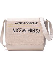 Bolsa Alice Monteiro Com Tampa Frase Off White