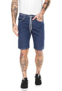 Bermuda Jeans Element Reta Cadarço Azul