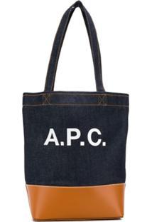 A.P.C. Bolsa Tote Jeans Com Logo - Azul