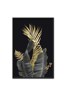 Quadro 90X60Cm Folhagem Dourada Hostoa Bananeira Moldura Preta Com Vidro