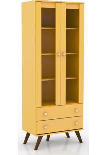 Cristaleira 2 Gavetas E 2 Portas Retrô Esm 217 Amarelo - Movel Bento