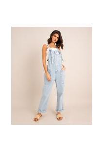 Macacão Jeans Cropped Com Botões Azul Claro