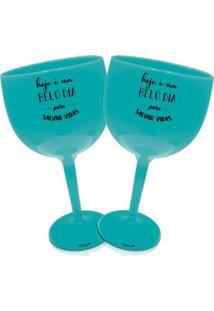 2 Taças Gin Azul Acrílico Personalizada Salvar Vidas