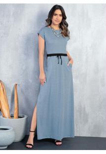 Vestido Longo Geométrico Azul Com Bolsos E Fenda