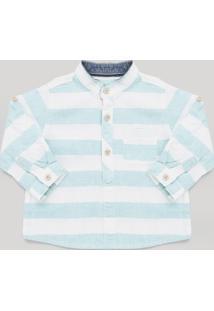 Camisa Infantil Listrada Com Linho Gola Padre Manga Longa Branca