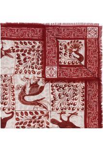Loewe Cachecol Com Padronagem - Vermelho