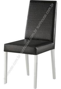 Cadeira Salvia Estofada Courino Preto - 36187 Sun House