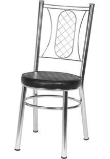 Cadeira Para Cozinha Em Aço Ca-965 Cromado Móveis Brastubo Cromado/Preto