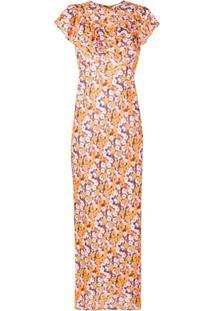 Rixo Vestido Com Estampa Floral De Seda - Amarelo