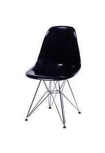Cadeira Eiffel Design Base Cromada Assento Preto Transparente