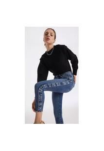 Calça Iodice Skinny Cós Alto Com Reserva Jeans