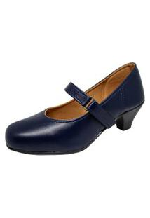 Sapato Social Boneca Fechado Salto Baixo Confort Azul Marinho.