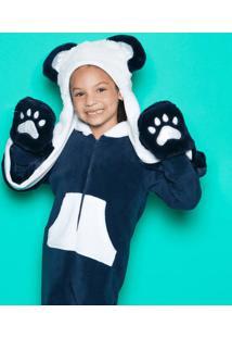 Gorro Pelãºcia Panda - Azul Marinho & Branco - 23,5X2Puket