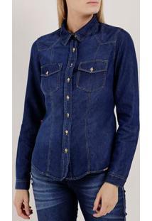 Camisa Jeans Manga Longa Feminina Azul