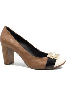 Sapato Jorge Bischoff Scarpin Salto Metal - Feminino-Marrom