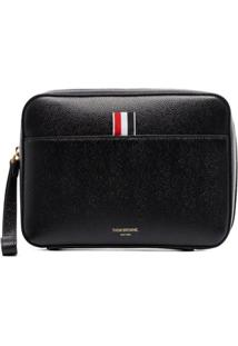 Thom Browne Logo Patch Clutch Bag - Preto