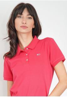 Camisa Polo Tommy Jeans Reta Logo Pink