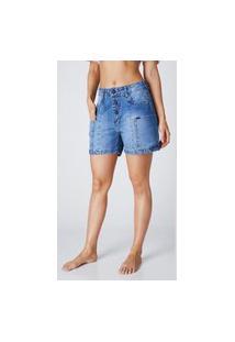 Bermuda Jeans Outlet Premium Mom Maite Azul