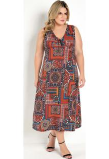 Vestido Midi Arabescos Vermelho Plus Size