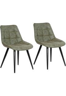 Conjunto Com 2 Cadeiras De Jantar Ravani Pernas Em Metal Verde