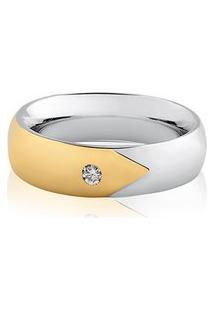 Aliança Ouro Branco E Amarelo Com Diamante (5Mm)