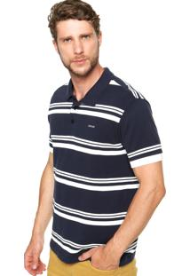 Camisa Polo Sommer Bordado Azul/Branco