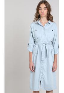 Vestido Chemise Feminino Mindset Com Faixa Azul Claro