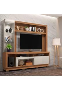 Estante Home Para Tv Até 55 Polegadas Com Led 2 Portas Iguatemi Colibri Móveis Natural Real/Off White