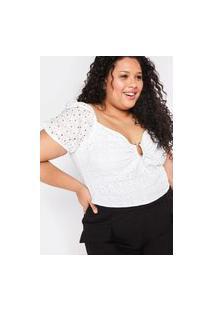 Blusa Almaria Plus Size Tal Qual Cropped Laise Off-White