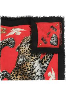 Alexander Mcqueen Xale De Seda Com Estampa De Leopardo - Vermelho