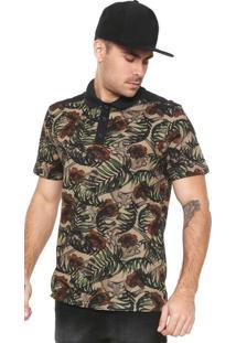 Camisa Polo Mcd Reta Tropical Bones Verde