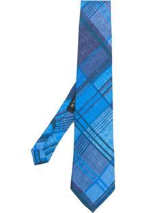 Etro Gravata De Seda Xadrez - Azul